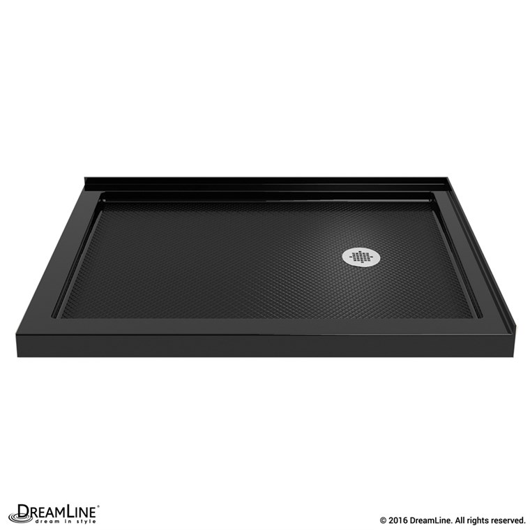 "Bath Authority DreamLine SlimLine Double Threshold Shower Base (34"" by 48"") - Black - Right Hand Drain DLT-1034482-88"