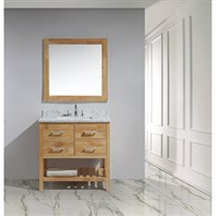 "Design Element London 36"" Vanity with Open Bottom, White Carrera Countertop, Sink and Mirror - Honey Oak DEC077A-O"