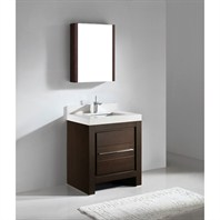 "Madeli Vicenza 30"" Bathroom Vanity with Quartzstone Top - Walnut Vicenza-30-WA-Quartz"