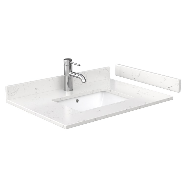 "30"" Single Countertop - Light-Vein Carrara Cultured Marble with Undermount Square Sink - Include Backsplash and Sidesplash WC-VCA-30-SGL-TOP-UMSQ-CC2"
