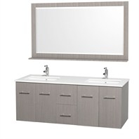 "Centra 60"" Double Bathroom Vanity Set by Wyndham Collection - Gray Oak WC-WHE009-60-DBL-GROAK"