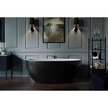 Aquatica Sensuality Mini-f-black-wht Freestanding Solid Surface Bathtub - Matte Black And White