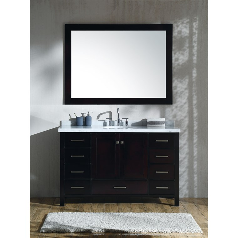 "Ariel Cambridge 55"" Single Sink Vanity Set with Carrara White Marble Countertop - Espresso A055S-ESP"
