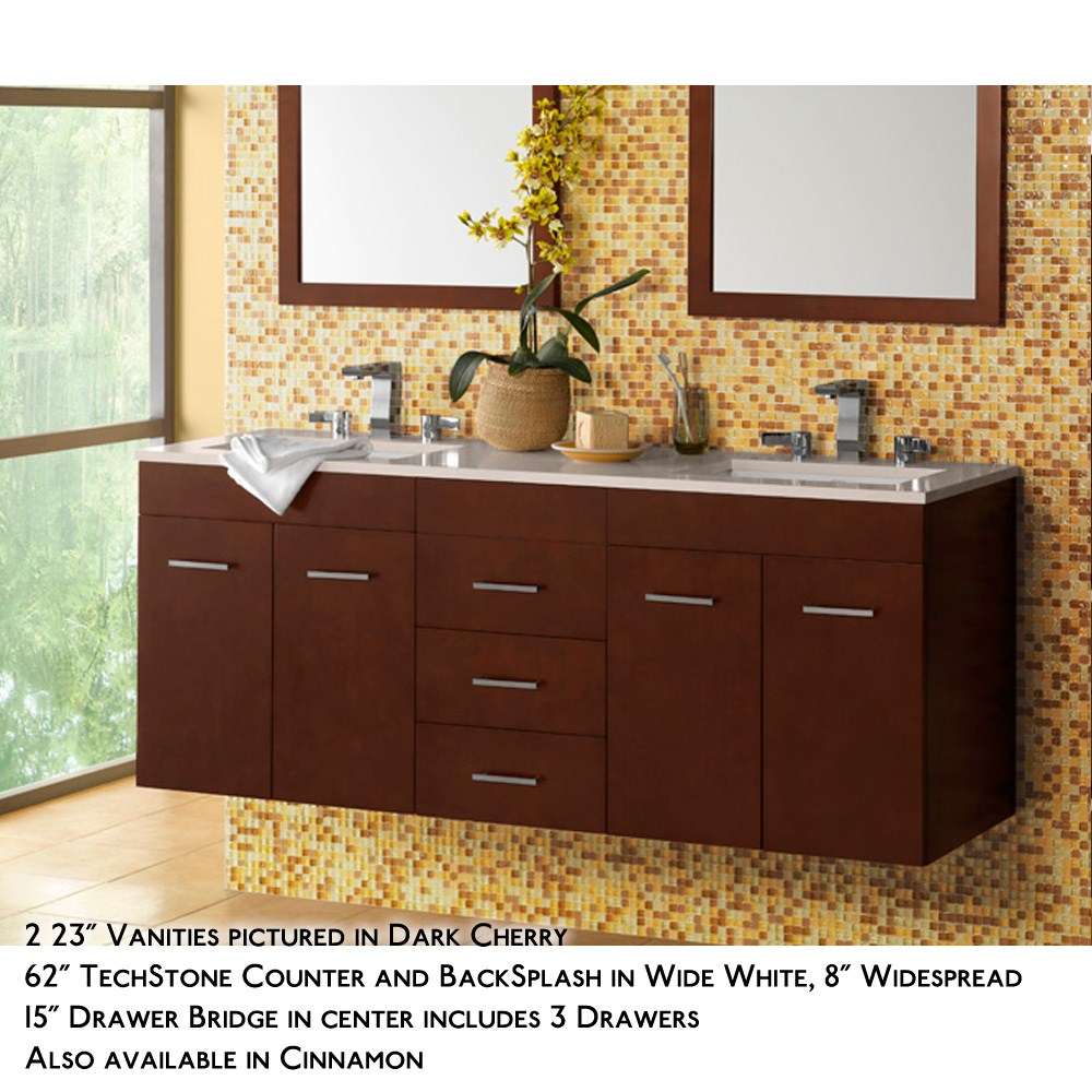 Ronbow Bella 62 Double Vanity Undermount Dark Cherry Free