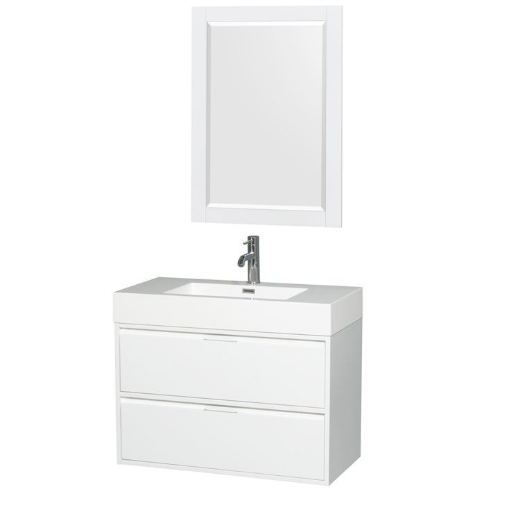 "Daniella 36"" Wall-Mounted Bathroom Vanity Set With Integrated Sink by Wyndham Collection - Glossy White WC-R4600-36-VAN-WHT"