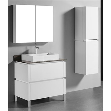 """Madeli Metro 36"""" Bathroom Vanity for Glass Counter and Porcelain Basin, Glossy White B600-36-001-GW-GLASS by Madeli"""