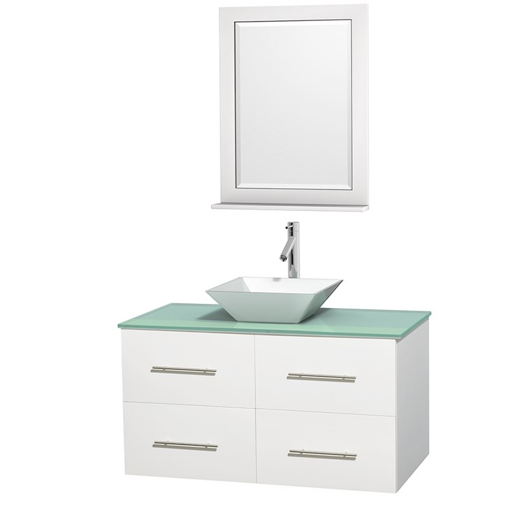 "Centra 42"" Single Bathroom Vanity for Vessel Sink by Wyndham Collection - Matte White WC-WHE009-42-SGL-VAN-WHT_"