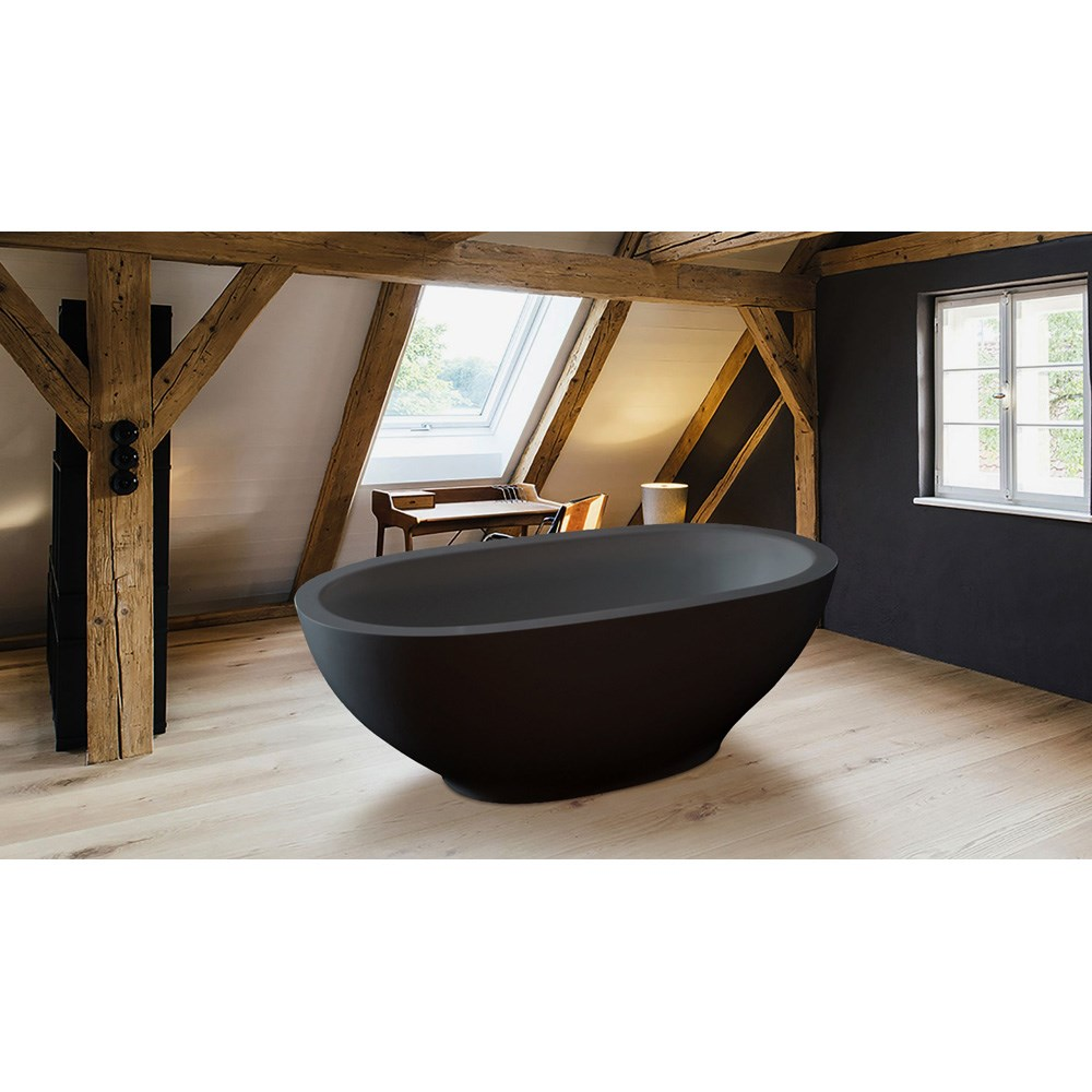 Aquatica Karolina Graphite Black Solid Surface Bathtub Matte Black