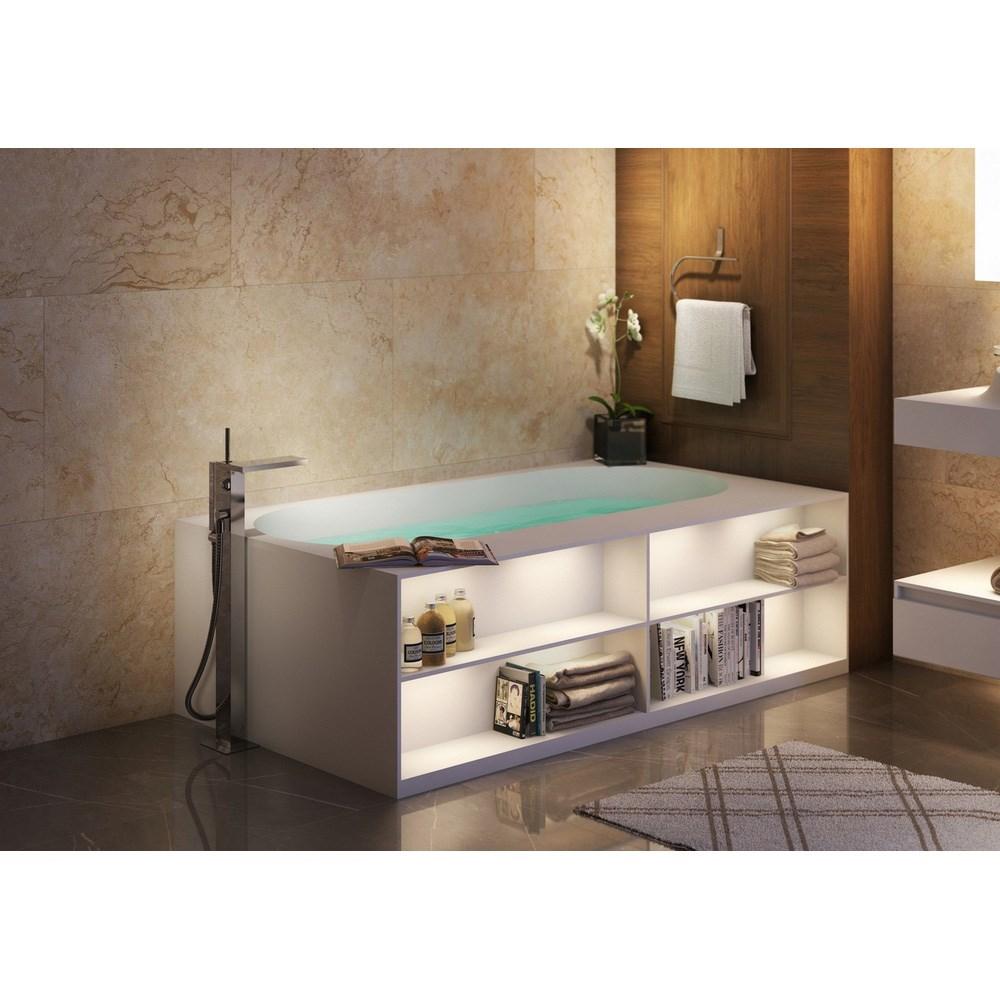 Aquatica Storage Lovers Freestanding Solid Surface Bathtub Matte White