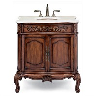 "Cole & Co. 31"" Premier Collection Med Provence Package Bella Crema with Biscuit Sink - Aged Chestnut 10.11.275230.27PBC"