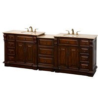 "Nottingham 92"" Traditional Double Bathroom Vanity - Antique Brown VC005-92-ANTBRN"