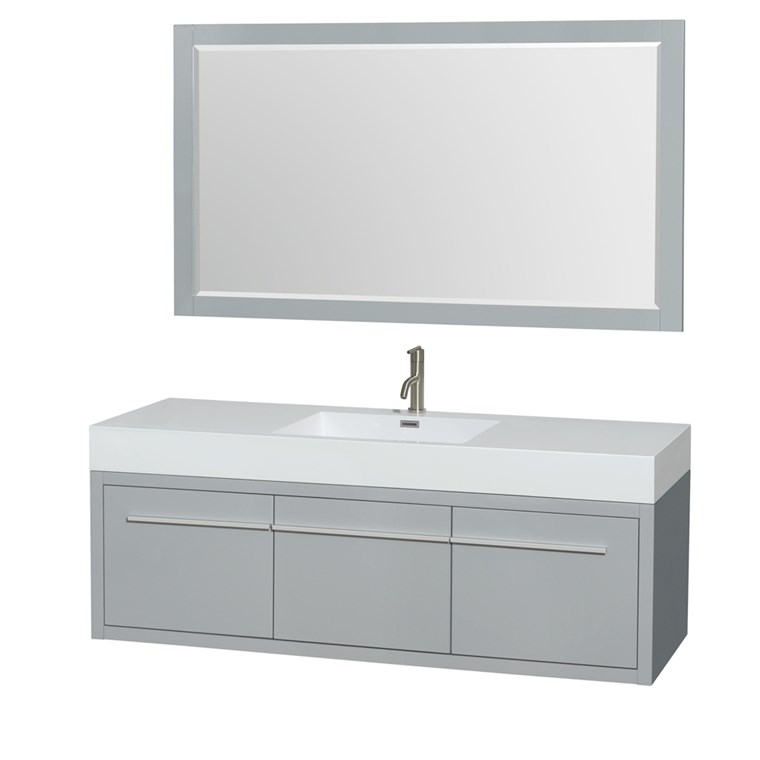 "Axa 60"" Wall-Mounted Single Bathroom Vanity Set With Integrated Sink by Wyndham Collection - Dove Gray WC-R4300-60-VAN-DVG-SGL"