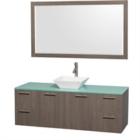 "Amare 60"" Wall-Mounted Single Bathroom Vanity Set with Vessel Sink by Wyndham Collection - Gray Oak WC-R4100-60-GROAK-SGL"