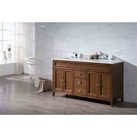 "Stufurhome Hamilton 59"" Double Sink Bathroom Vanity with White Quartz Top - Natural Wood TY-7615-59-QZ"