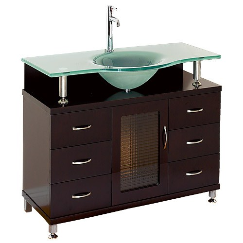 "Accara 36"" Bathroom Vanity with Drawers - Espresso w/ Clear or Frosted Glass Counter B706D-36-ESP"