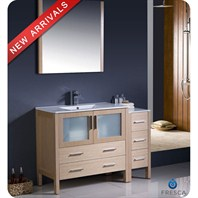 "Fresca Torino 48"" Light Oak Modern Bathroom Vanity with Side Cabinet & Undermount Sinks FVN62-3612LO-UNS"