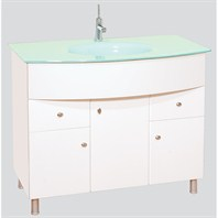 "Chelsea 40"" Bathroom Vanity with Glass Countertop"