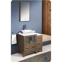 "Fresca Torino 36"" Walnut Brown Modern Bathroom Vanity with Side Cabinet & Vessel Sink FVN62-2412WB-VSL"