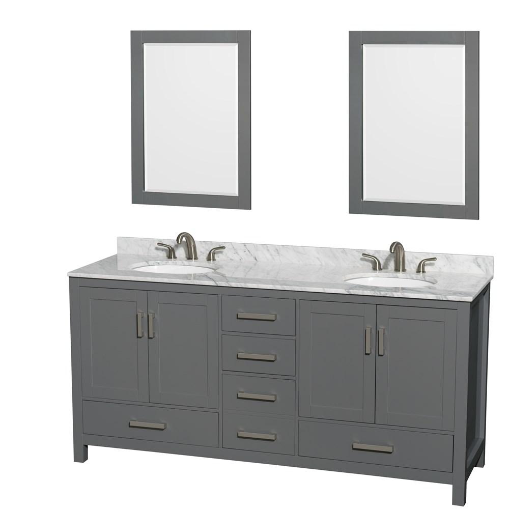 72 Bathroom Vanity | Sheffield 72 Double Bathroom Vanity By Wyndham Collection Dark Gray