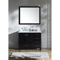 "Ariel Cambridge 43"" Single Sink Vanity with Left Offset Sink and Carrara White Marble Countertop - Espresso A043S-L-VO-ESP"