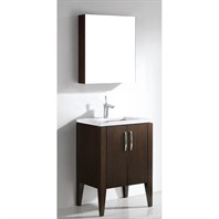 "Madeli Caserta 24"" Bathroom Vanity with Quartzstone Top - Walnut Caserta-24-WA-Quartz"