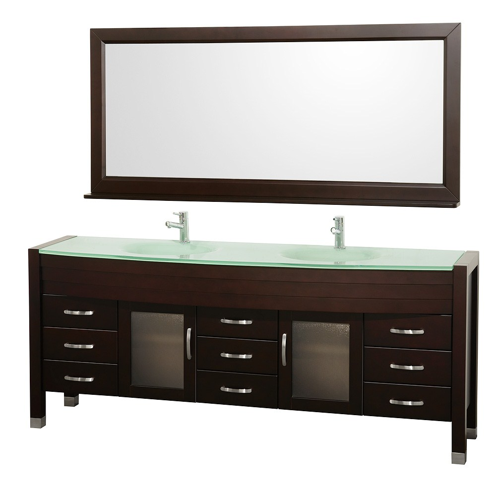 "Daytona 78"" Double Bathroom Vanity Set by Wyndham Collection - Espressonohtin Sale $1999.00 SKU: WC-A-W2200-78-ESP- :"
