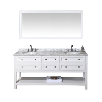 "Stufurhome Marla 72"" Double Sink Bathroom Vanity with Mirror, White HD-6868-72-CR by Stufurhome"