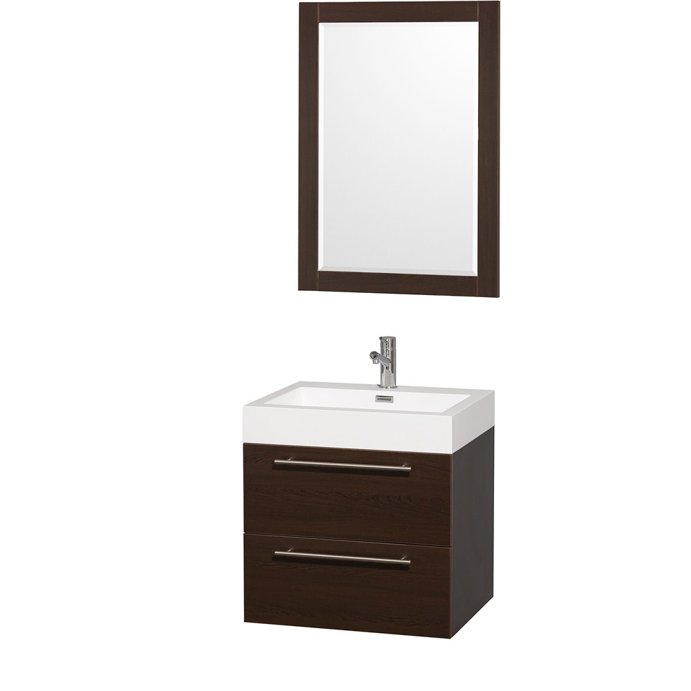 Amare 24 inch Wall Mounted Bathroom Vanity Set with Integrated Sink by Wyndham Collection Espresso