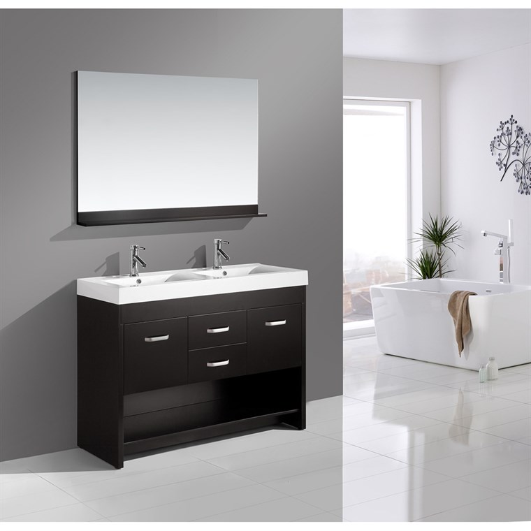"Design Element Citrus 48"" Double Bathroom Vanity Set - Espresso DEC074"
