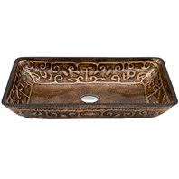 Vigo Rectangular Greek Glass Vessel Sink - Golden VG07045