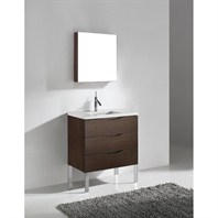 "Madeli Milano 30"" Bathroom Vanity with Quartzstone Top - Walnut Milano-30-WA-Quartz"