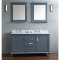 "Seacliff by Ariel Nantucket 60"" Double Sink Vanity Set with Carrera White Marble Countertop - Whale Grey SC-NAN-60-SWG"