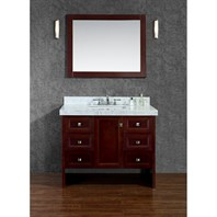 "Seacliff by Ariel Beckonridge 42"" Single Sink Vanity Set with Carrera White Marble Countertop - Walnut SCBEC42SWA"