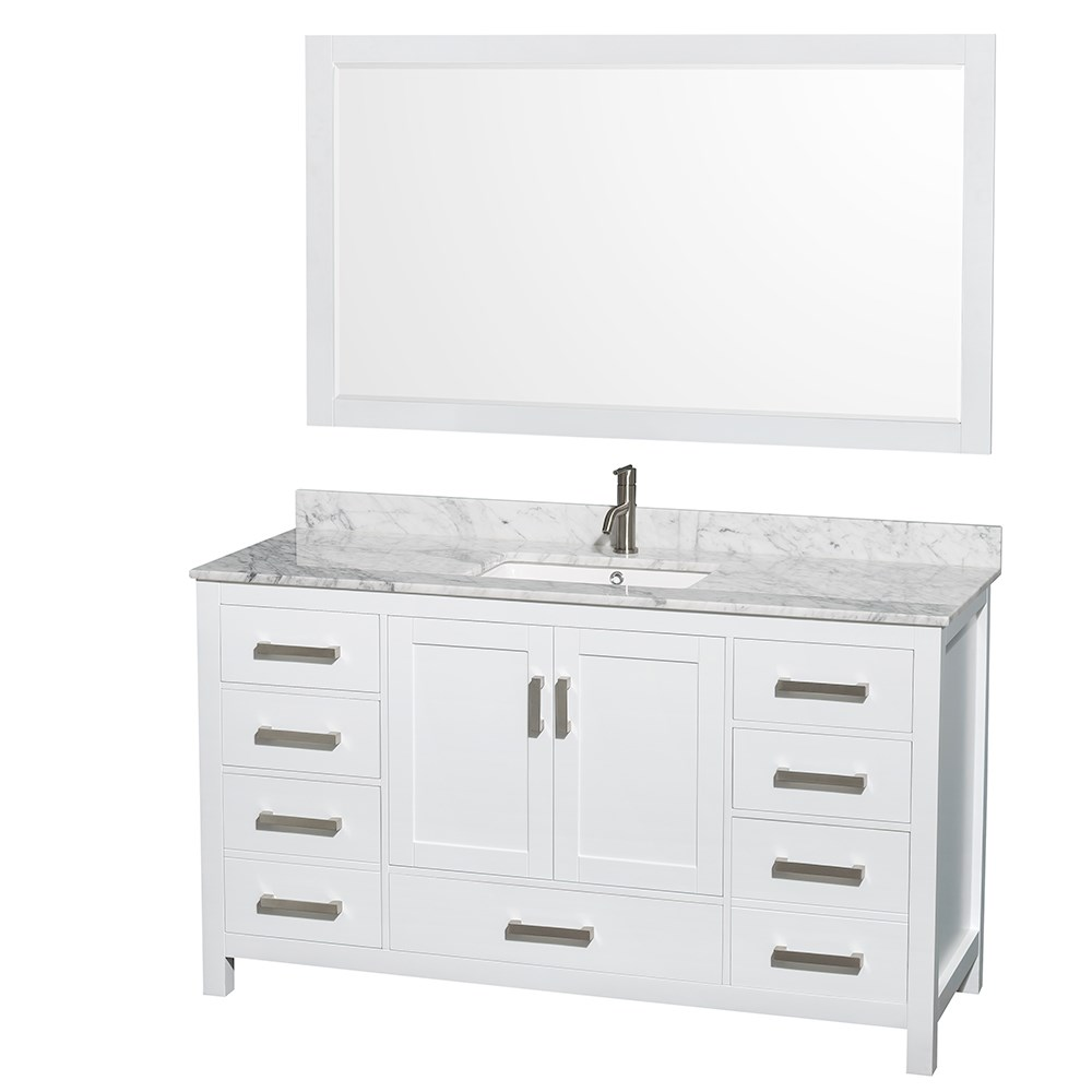 Sheffield 60 Single Bathroom Vanity By Wyndham Collection White