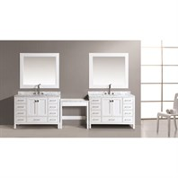 "Design Element London Two 48"" Vanities with Make-up Table - White DEC082C-Wx2_MUT-W"