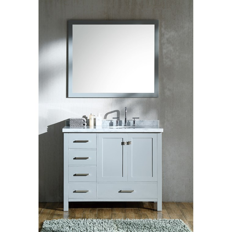 "Ariel Cambridge 43"" Single Sink Vanity Set with Right Offset Sink and Carrara White Marble Countertop - Grey A043S-R-GRY"