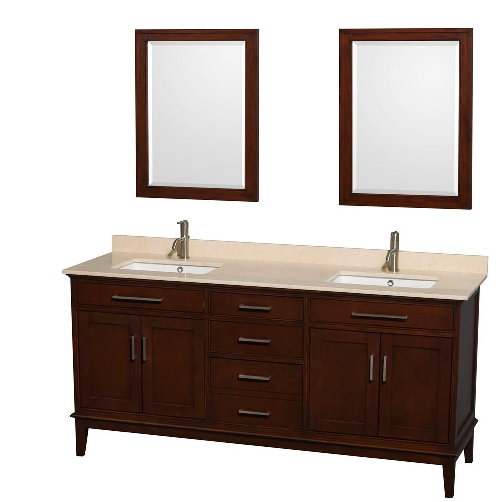 """Hatton 72"""" Double Bathroom Vanity by Wyndham Collection - Dark Chestnutnohtin Sale $1299.00 SKU: WC-1616-72-DBL-VAN-CDK :"""