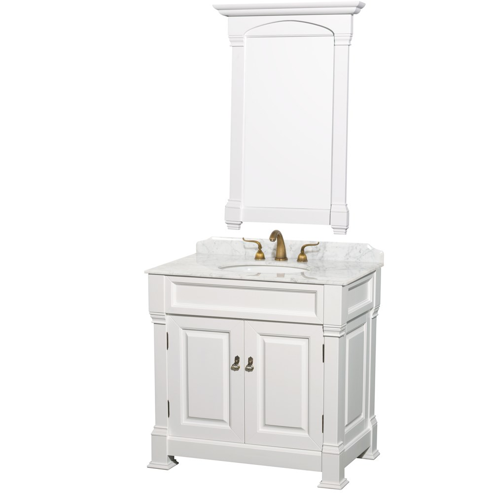 "Andover 36"" Traditional Bathroom Vanity Set by Wyndham Collection - White WC-TS36-WHT"
