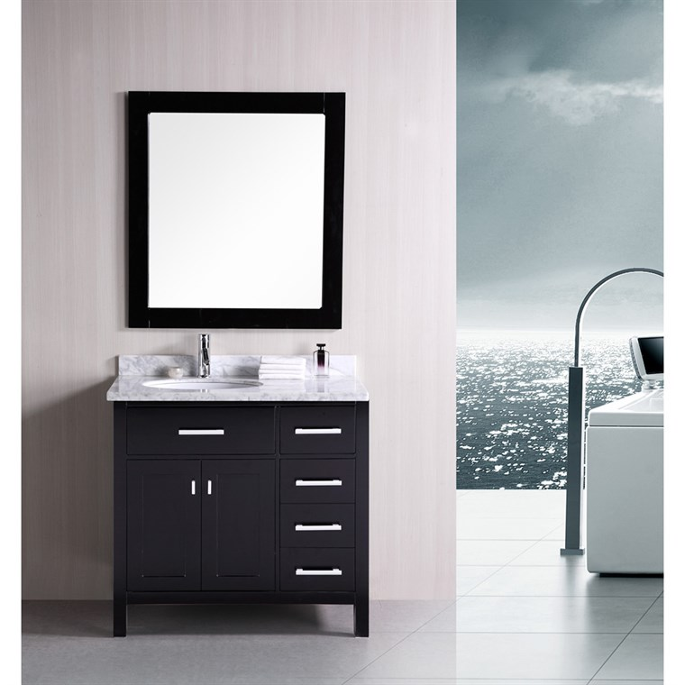 "Design Element London 36"" Single Vanity with Drawers on the Right, White Carrera Countertop, Sink and Mirror - Espresso DEC076D-R"