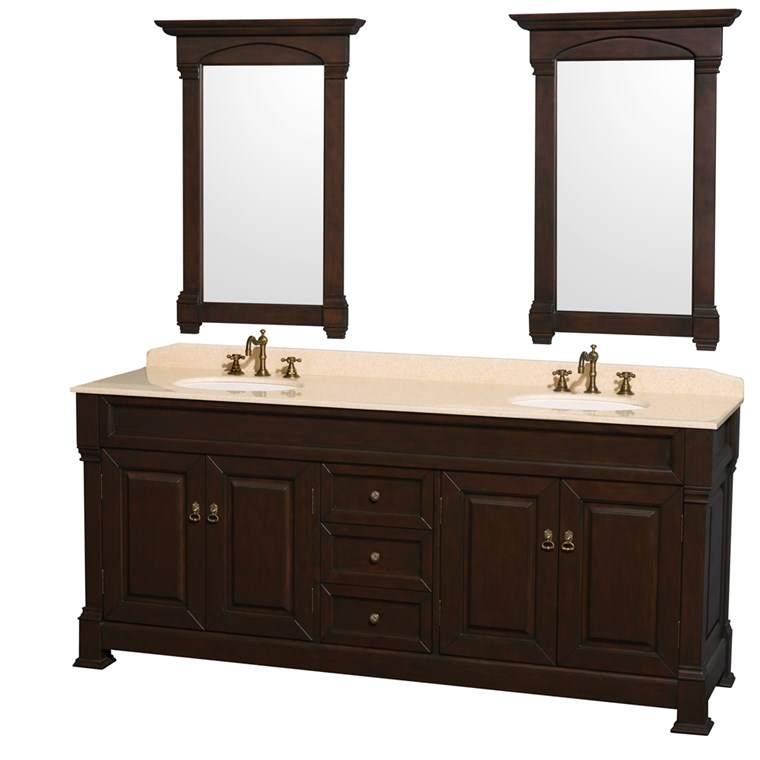"Andover 80"" Traditional Bathroom Double Vanity Set by Wyndham Collection - Dark Cherry WC-TD80-DKCH"