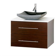 "Bianca 30"" Wall-Mounted Modern Bathroom Vanity - Iron Wood WHE007-30-IR"