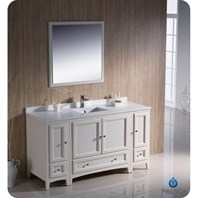 "Fresca Oxford 60"" Traditional Bathroom Vanity with 2 Side Cabinets - Antique White FVN20-123612AW"