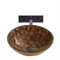 VIGO Playa Glass Vessel Sink and Titus Wall Mount Faucet Set in an Antique Rubbed Bronze Finish VGT880