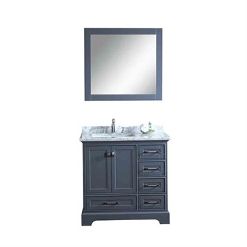 "Stufurhome Newport Grey 36"" Single Sink Bathroom Vanity with Mirror, Grey HD-7130G-36-CR by Stufurhome"
