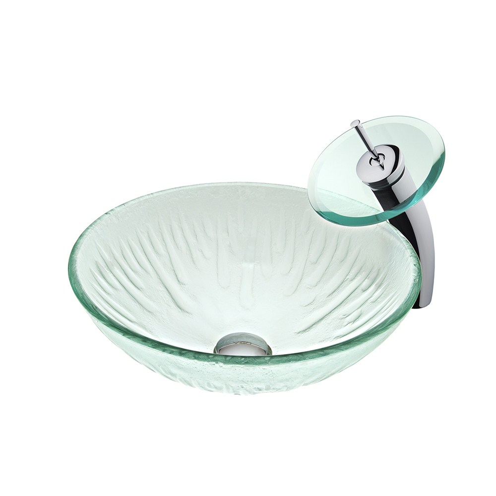 VIGO Industries Icicles Glass Vessel Sink and Waterfall Faucet Setnohtin Sale $209.90 SKU: VGT034-ROUND :