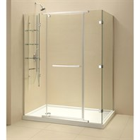 "Bath Authority DreamLine Quatra-X Frameless Pivot Shower Enclosure (34-5/16"" by 58-5/16"") Chrome Finish Hardware SHEN-1134580-01"