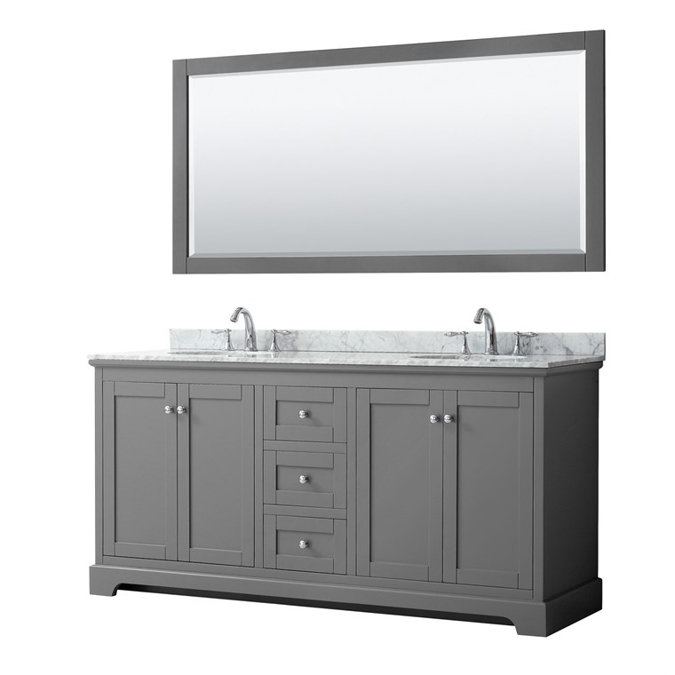 "Daria 72"" Double Bathroom Vanity by Wyndham Collection - Dark Gray WC-2525-72-DBL-VAN-DKG"
