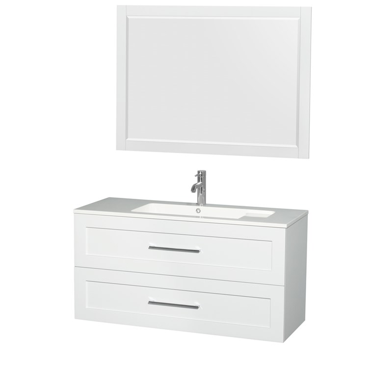 "Olivia 48"" Wall-Mounted Bathroom Vanity Set With Integrated Sink by Wyndham Collection - Glossy White WC-R4500-48-VAN-WHT"