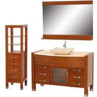 "Daytona 55"" Bathroom Vanity Set - Cherry Finish w/ Drawers & Cabinet A-W2109T-55-CH-IVO-SET"