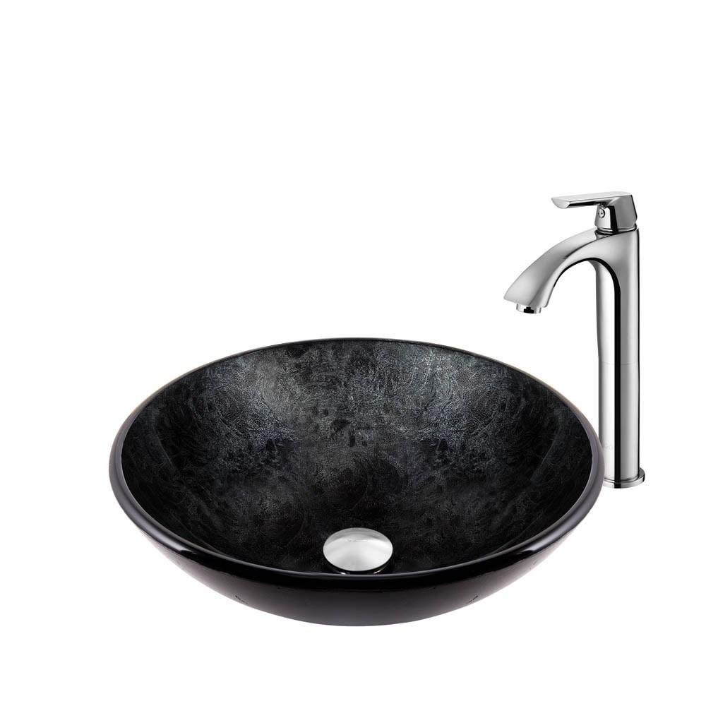 VIGO Gray Onyx Glass Vessel Sink and Linus Faucet set in a Chrome Finishnohtin Sale $225.90 SKU: VGT830 :